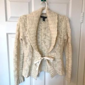 INC cream cardigan with ribbon tie- Petite size S
